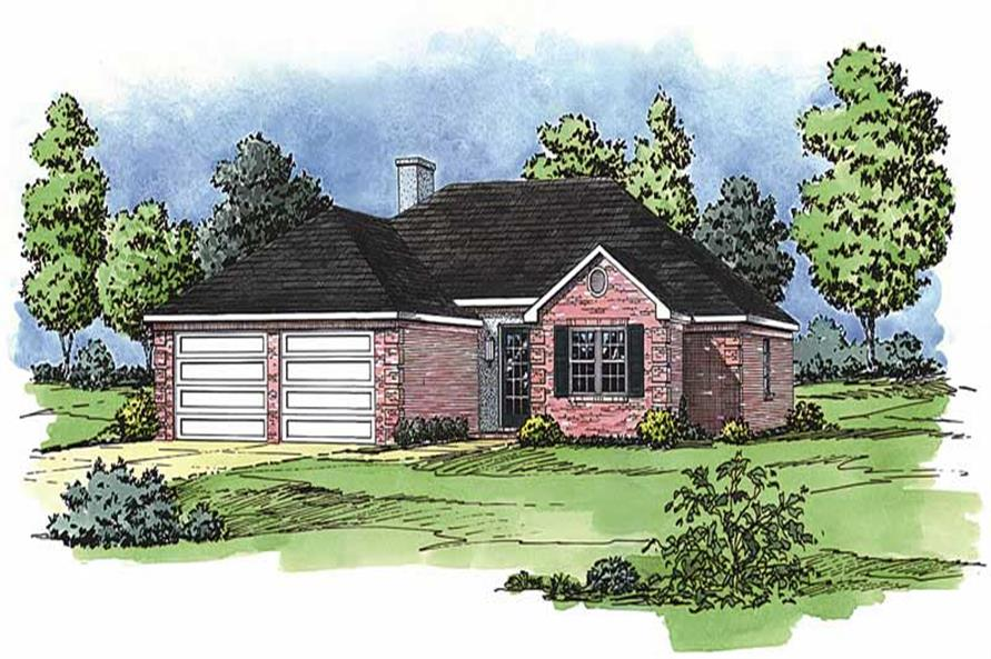 3-Bedroom, 1205 Sq Ft European House Plan - 164-1036 - Front Exterior