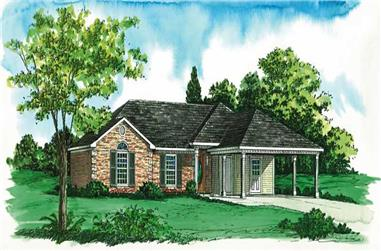3-Bedroom, 1221 Sq Ft Country House Plan - 164-1037 - Front Exterior