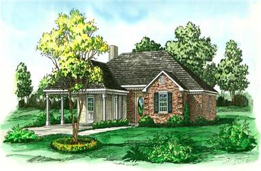 3-Bedroom, 1211 Sq Ft Country House Plan - 164-1038 - Front Exterior