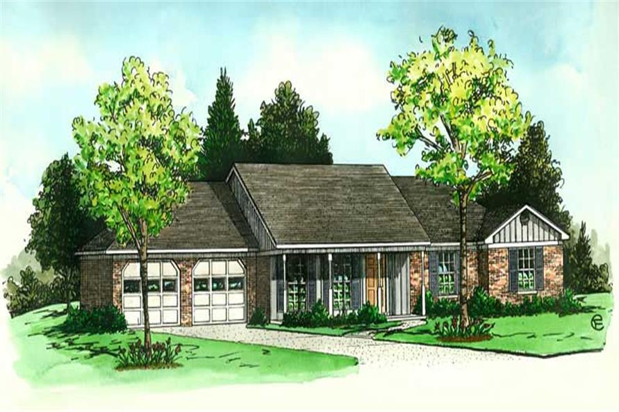 3-Bedroom, 1271 Sq Ft Country House Plan - 164-1039 - Front Exterior