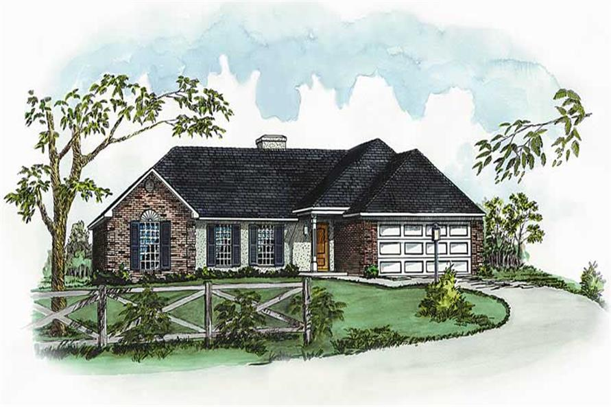 3-Bedroom, 1121 Sq Ft Country House Plan - 164-1040 - Front Exterior