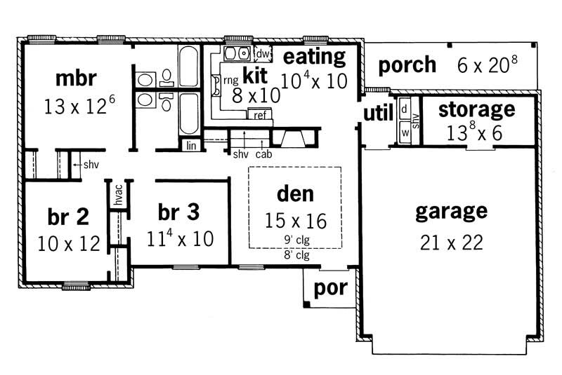 Country house plans ranch home design rg1105 1737 for 1040 square foot house plans
