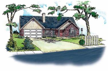 3-Bedroom, 1237 Sq Ft Country House Plan - 164-1045 - Front Exterior
