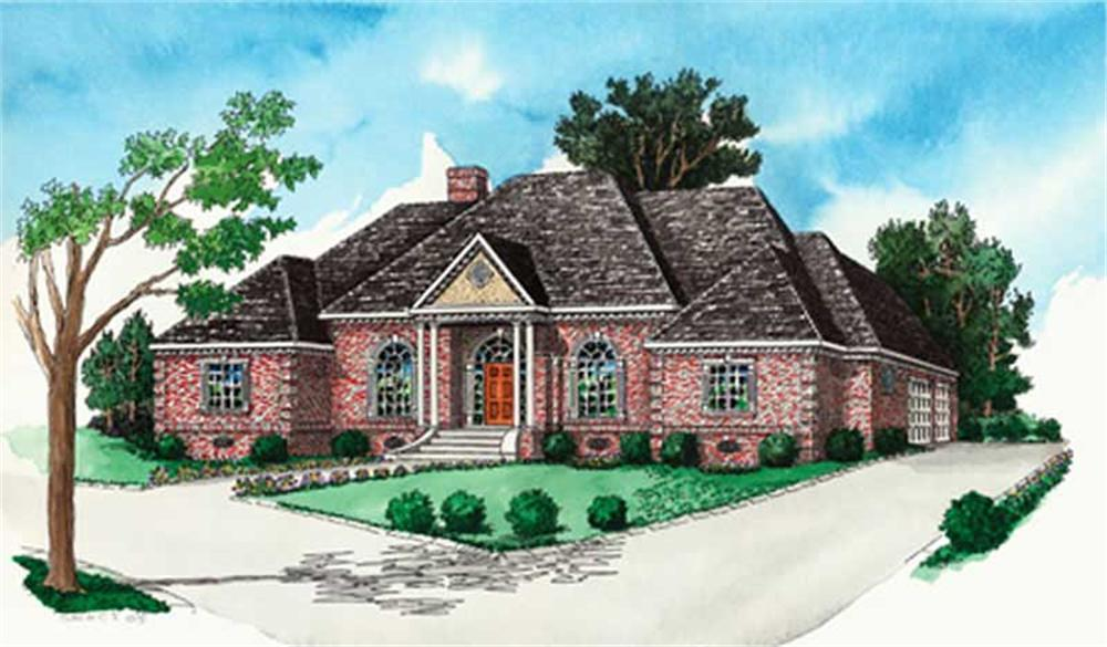 Georgian Home Plans color rendering.