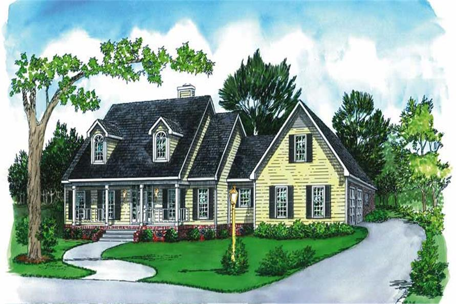 3-Bedroom, 2056 Sq Ft Country House Plan - 164-1052 - Front Exterior