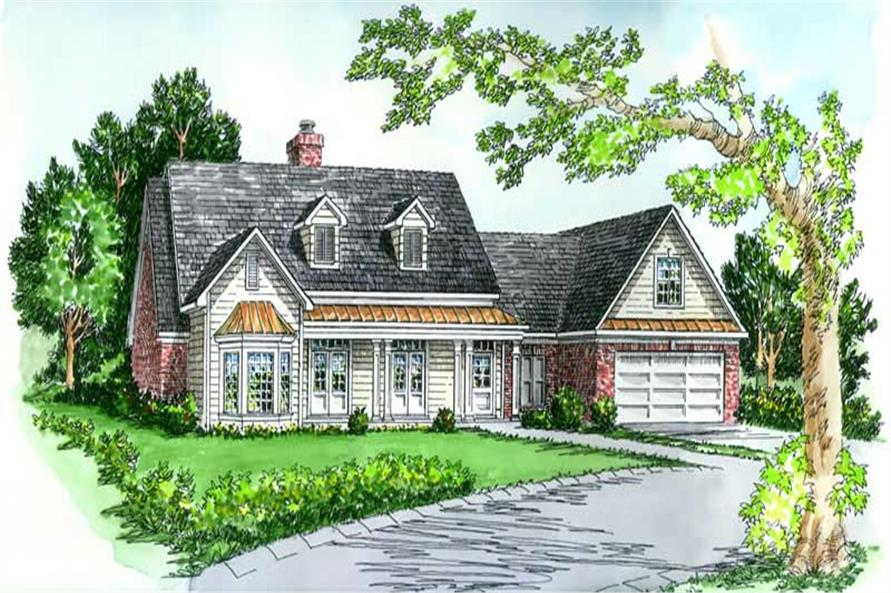 3-Bedroom, 1918 Sq Ft Country House Plan - 164-1054 - Front Exterior