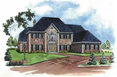 4-Bedroom, 4190 Sq Ft European House Plan - 164-1055 - Front Exterior