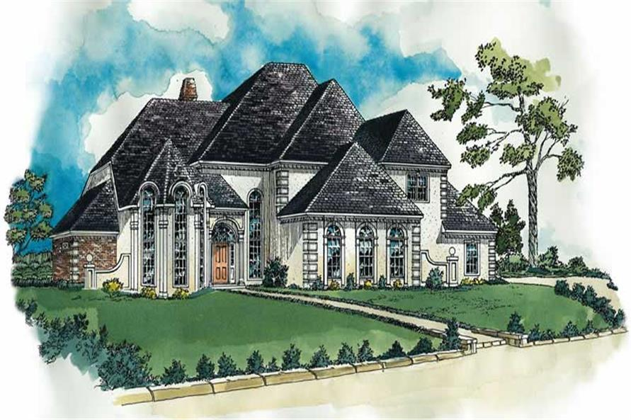 4-Bedroom, 3981 Sq Ft European House Plan - 164-1057 - Front Exterior