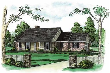 3-Bedroom, 2045 Sq Ft Country House Plan - 164-1061 - Front Exterior