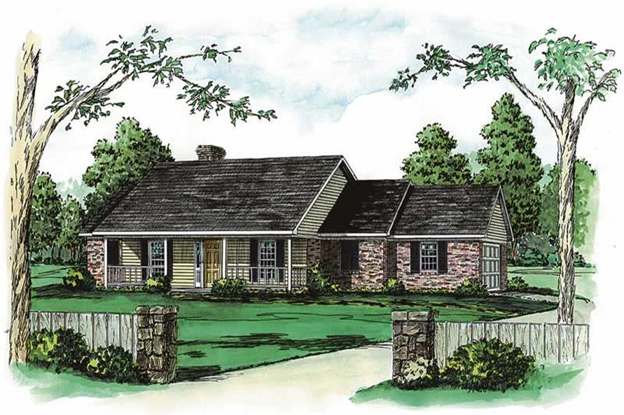 Color rendering elevation for traditional homeplans.