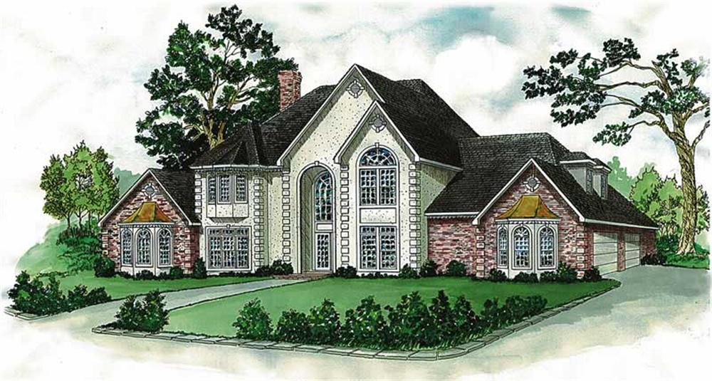 European house plans color rendering front elevation.
