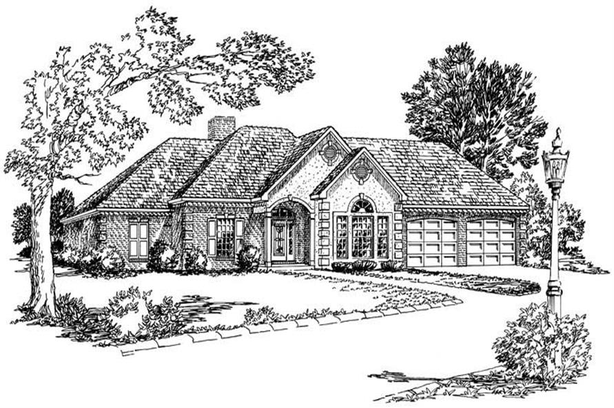 3-Bedroom, 2061 Sq Ft Country House Plan - 164-1068 - Front Exterior