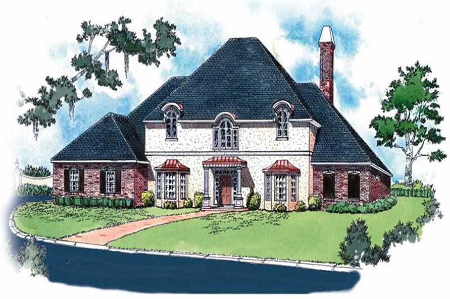 4-Bedroom, 3257 Sq Ft European House Plan - 164-1070 - Front Exterior