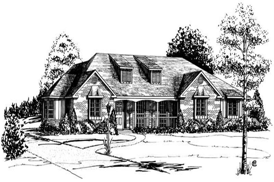 4-Bedroom, 2271 Sq Ft Country House Plan - 164-1076 - Front Exterior