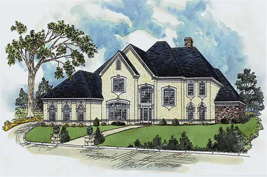 4-Bedroom, 3678 Sq Ft European House Plan - 164-1077 - Front Exterior
