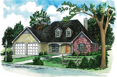 3-Bedroom, 1899 Sq Ft Country House Plan - 164-1079 - Front Exterior