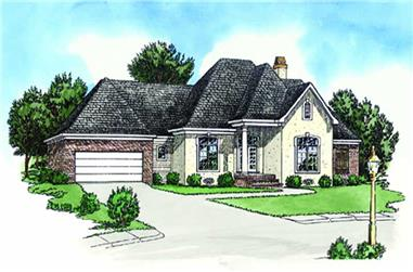 3-Bedroom, 1618 Sq Ft French Home Plan - 164-1080 - Main Exterior