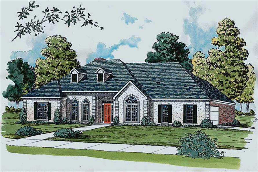 3-Bedroom, 1837 Sq Ft European House Plan - 164-1086 - Front Exterior