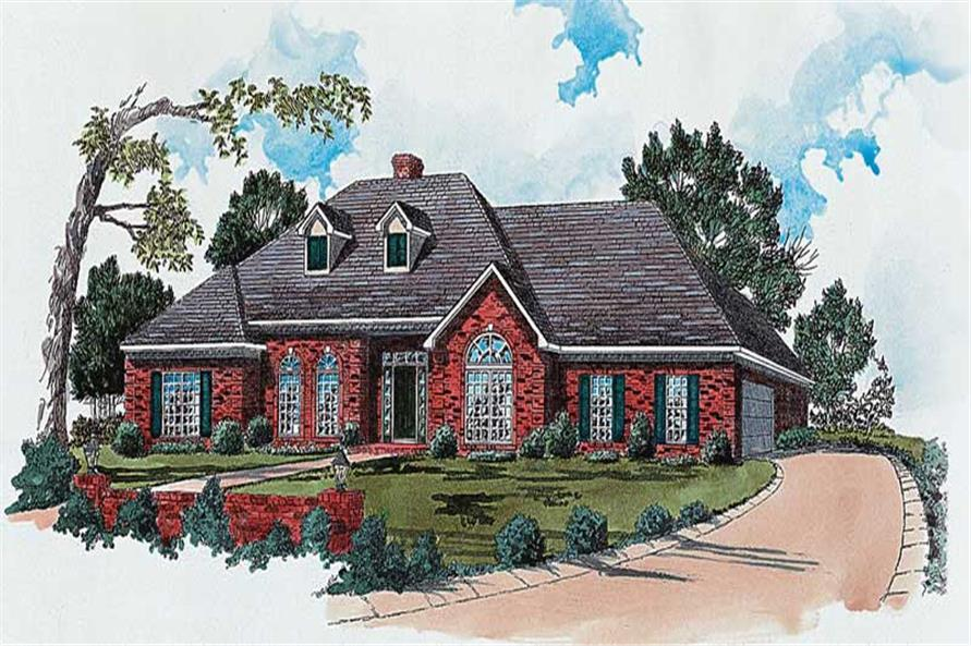 3-Bedroom, 1856 Sq Ft European House Plan - 164-1087 - Front Exterior
