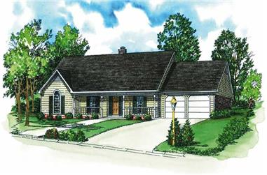 3-Bedroom, 1882 Sq Ft Country House Plan - 164-1092 - Front Exterior