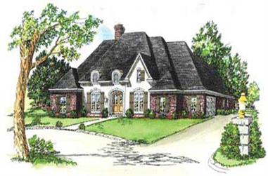 3-Bedroom, 1882 Sq Ft European House Plan - 164-1095 - Front Exterior