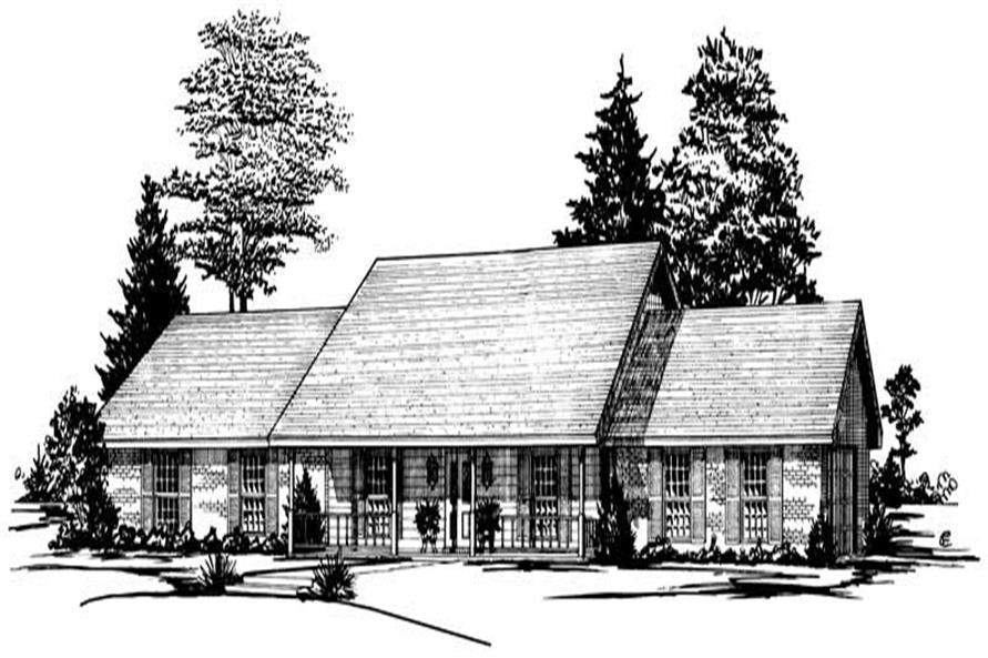 3-Bedroom, 1949 Sq Ft Country House Plan - 164-1098 - Front Exterior