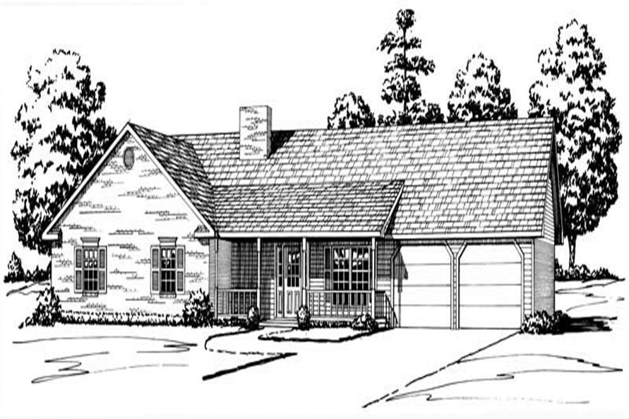 3-Bedroom, 1948 Sq Ft Country House Plan - 164-1099 - Front Exterior
