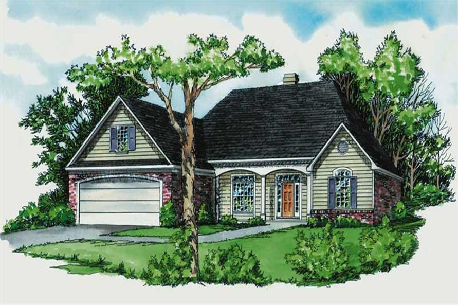 3-Bedroom, 1856 Sq Ft Country House Plan - 164-1106 - Front Exterior