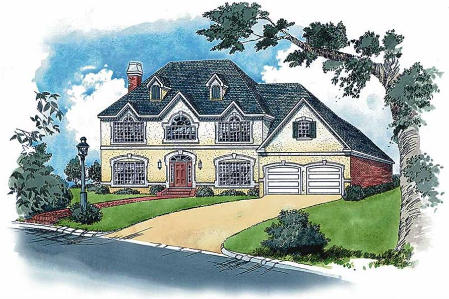 European Style Home Plans Color Rendering.