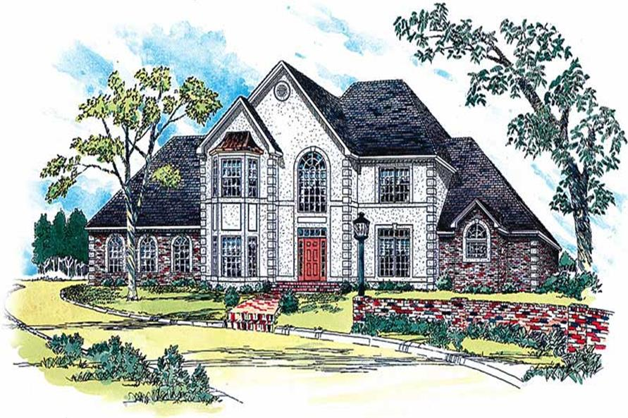 4-Bedroom, 3504 Sq Ft European House Plan - 164-1149 - Front Exterior
