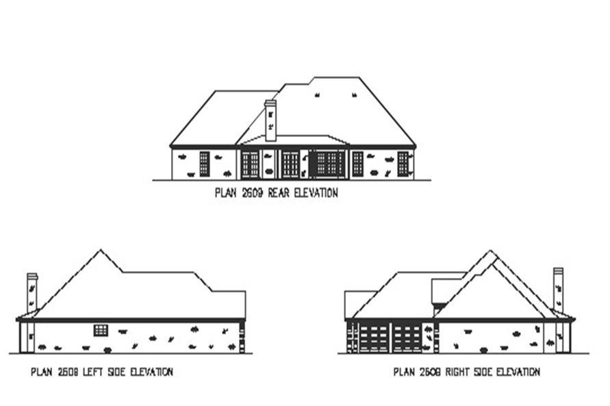 Home Plan Rear Elevation of this 4-Bedroom,2697 Sq Ft Plan -164-1156