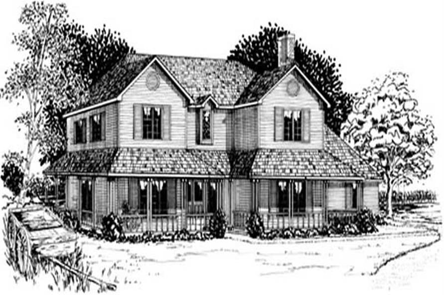4-Bedroom, 2775 Sq Ft Country House Plan - 164-1159 - Front Exterior