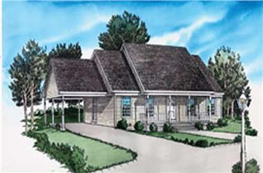 2-Bedroom, 999 Sq Ft Country House Plan - 164-1163 - Front Exterior