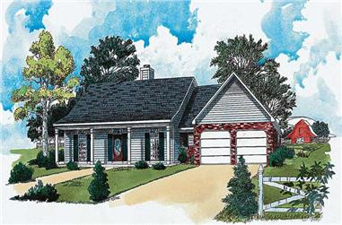 3-Bedroom, 1660 Sq Ft Country House Plan - 164-1168 - Front Exterior