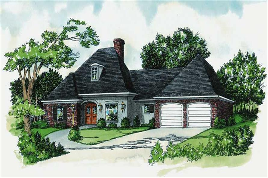 3-Bedroom, 1671 Sq Ft European House Plan - 164-1170 - Front Exterior