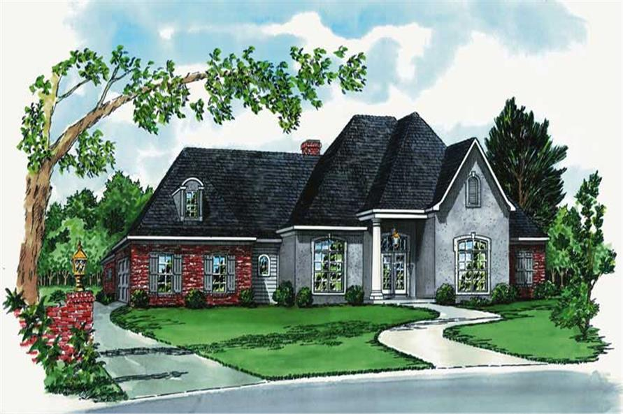 3-Bedroom, 1672 Sq Ft European House Plan - 164-1171 - Front Exterior
