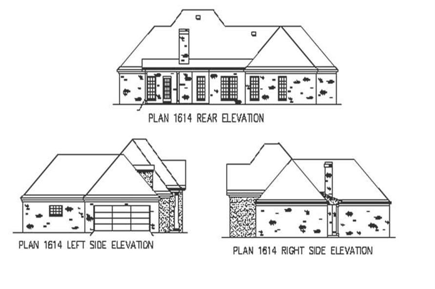 Home Plan Rear Elevation of this 3-Bedroom,1672 Sq Ft Plan -164-1171