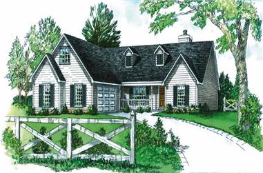 3-Bedroom, 1610 Sq Ft Country House Plan - 164-1172 - Front Exterior