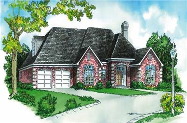 3-Bedroom, 1608 Sq Ft Country House Plan - 164-1175 - Front Exterior