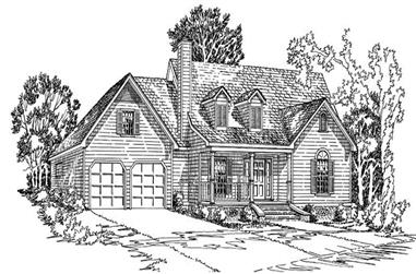 3-Bedroom, 1624 Sq Ft Country House Plan - 164-1176 - Front Exterior