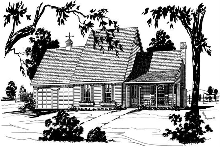 3-Bedroom, 1697 Sq Ft Cape Cod House Plan - 164-1177 - Front Exterior