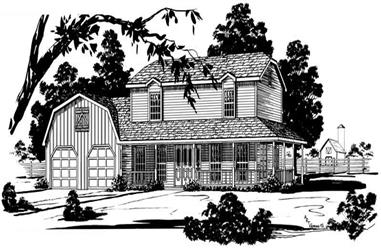 3-Bedroom, 1823 Sq Ft Country House Plan - 164-1180 - Front Exterior