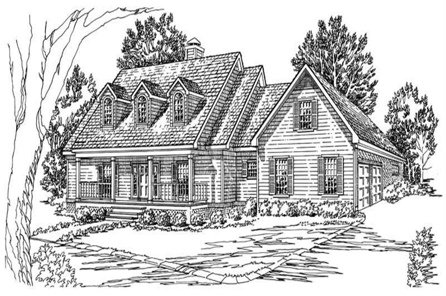3-Bedroom, 1767 Sq Ft Country House Plan - 164-1182 - Front Exterior