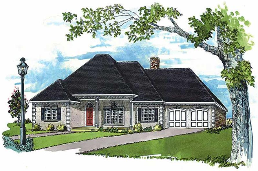 3-Bedroom, 1789 Sq Ft European House Plan - 164-1185 - Front Exterior