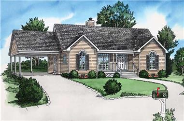 2-Bedroom, 987 Sq Ft Country House Plan - 164-1186 - Front Exterior