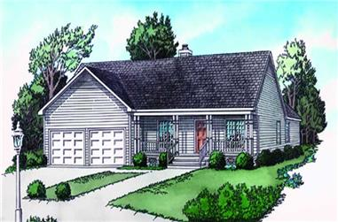 2-Bedroom, 1075 Sq Ft Country House Plan - 164-1188 - Front Exterior