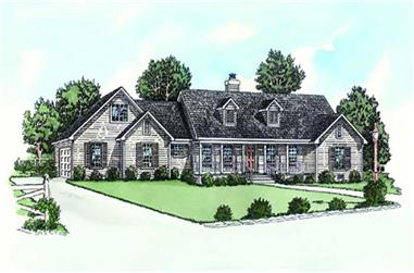3-Bedroom, 1501 Sq Ft Country House Plan - 164-1190 - Front Exterior