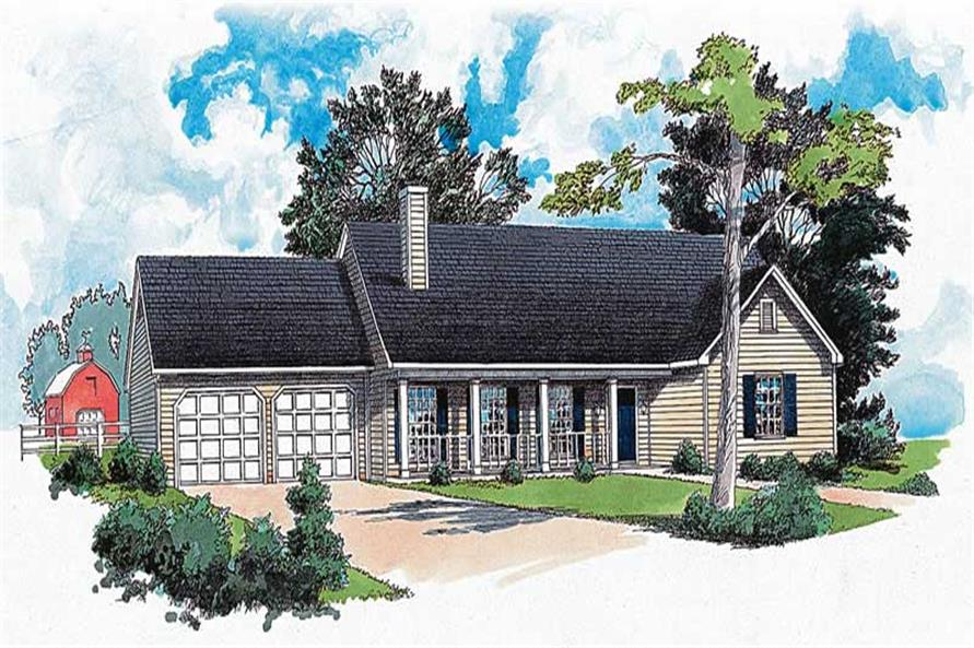 3-Bedroom, 1265 Sq Ft Country House Plan - 164-1197 - Front Exterior