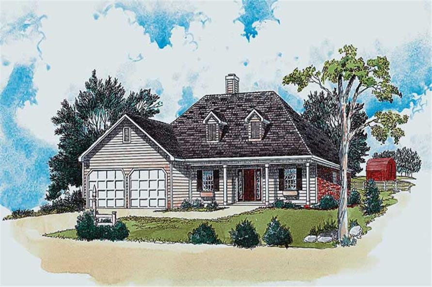 3-Bedroom, 1294 Sq Ft Country House Plan - 164-1198 - Front Exterior