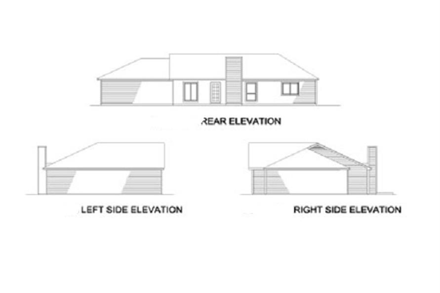Home Plan Rear Elevation of this 3-Bedroom,1362 Sq Ft Plan -164-1199